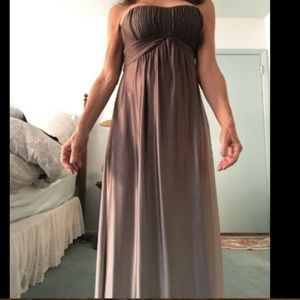 Taupe Ombre satin/spandex strapless gown, XS
